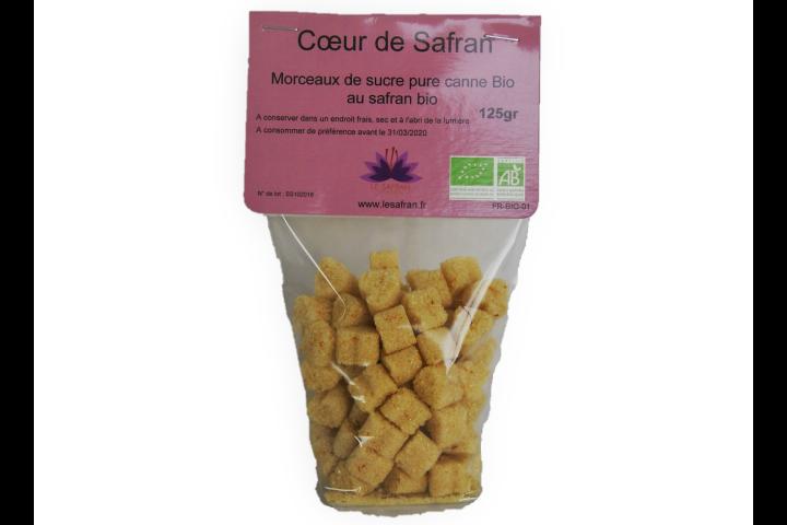 Coeur de safran, morceaux de sucre de canne bio au safran