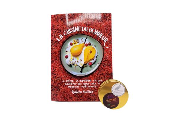 """Pack Livre """"La cuisine du bonheur"""" et Safran sec en filaments : le pot fin gourmet, 0.50gr"""