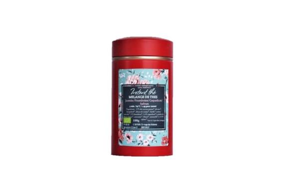 Mélange de thés bio Jasmin-Framboise-Coquelicot-Safran, 100g, 66 tasses
