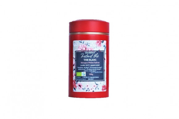 Thé blanc bio Mangue-Pêche-Safran, 100g, 66 tasses