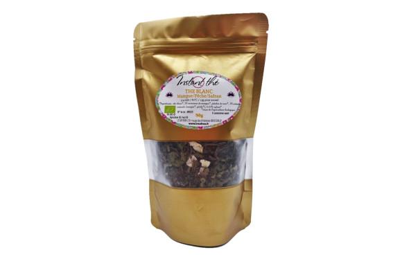 Thé blanc bio Mangue-Pêche-Safran, 50g, 35 tasses