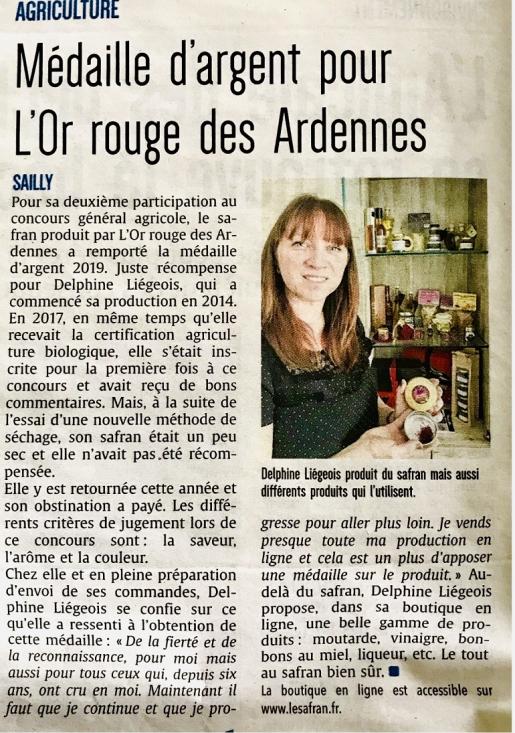 Article dans le journal L'Ardennais